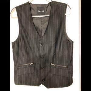 Guess men's pinstriped black vest M